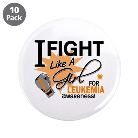 "Fight Like a Girl Leukemia 3.5"" Button (10 pack)"