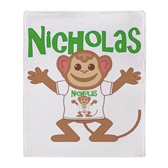 Little Monkey Nicholas Throw Blanket