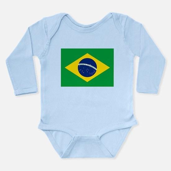 Brazil Flag Long Sleeve Infant Bodysuit