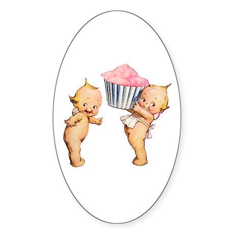 Kewpies Love Cupcakes! Sticker (Oval 50 pk)