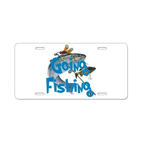 Going fishing aluminum license plate by born rowdy for Fishing license plate
