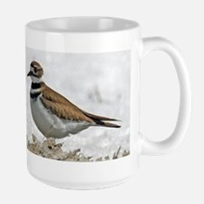 Killdeer in snow Large Mug