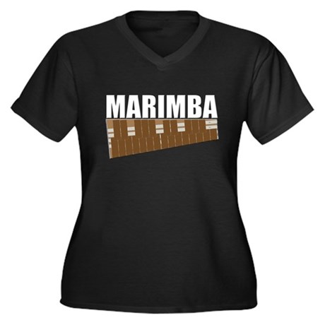 Marimba Women's Plus Size V-Neck Dark T-Shirt