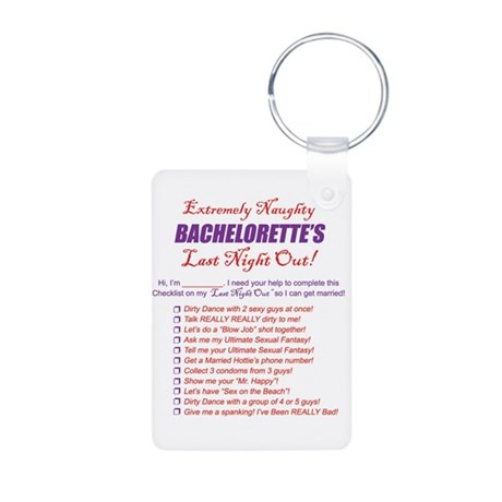 Bachelorette Party Checklist Aluminum Photo Keycha