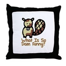 Dam Funny Beaver Throw Pillow