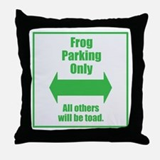 Frog Parking Throw Pillow