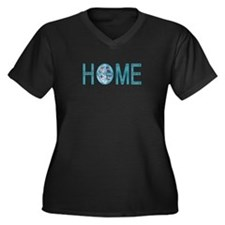 HOME Women's Plus Size V-Neck Dark T-Shirt