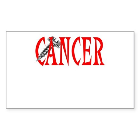 Screw Cancer -- Cancer Awareness Sticker (Rectangl
