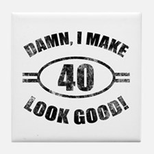 Damn Funny 40th Birthday Tile Coaster