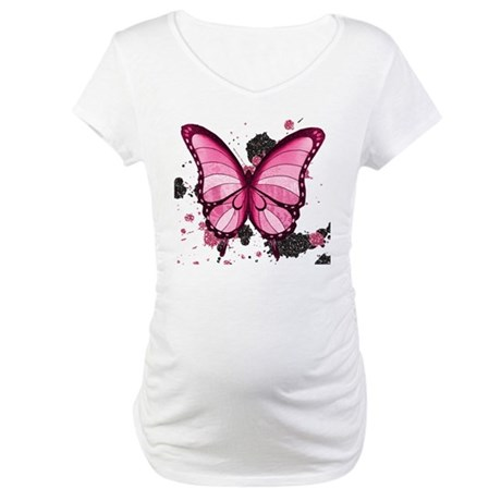 Pink Butterfly Maternity T-Shirt
