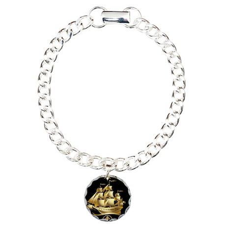 golden sailboat Charm Bracelet, One Charm