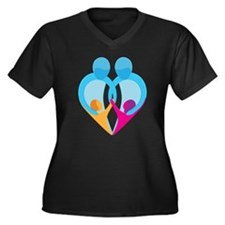 TWO DADS Women's Plus Size V-Neck Dark T-Shirt