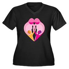 TWO MOMS Women's Plus Size V-Neck Dark T-Shirt