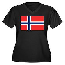 Flag of Norway Women's Plus Size V-Neck Dark T-Shi