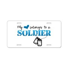 My heart belongs to a Soldier Aluminum License Pla