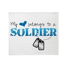 My heart belongs to a Soldier Throw Blanket