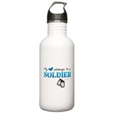 My heart belongs to a Soldier Water Bottle
