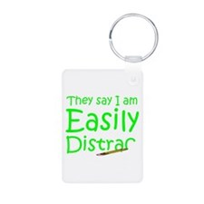 Easily Distracted Aluminum Photo Keychain