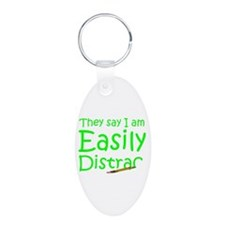 Easily Distracted Aluminum Oval Keychain