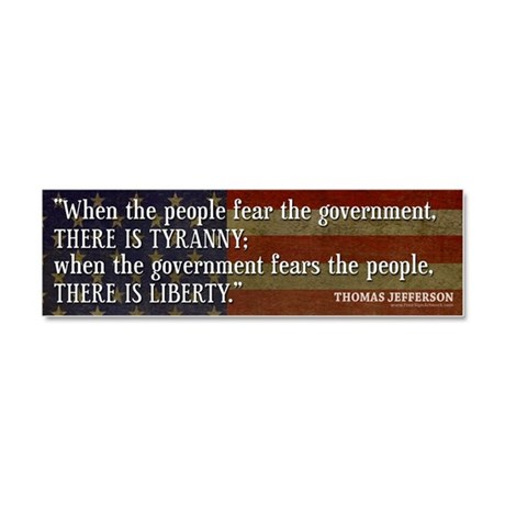 Jefferson Liberty Tyranny Quote Car Magnet 10 x 3