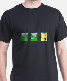 Comic Strip Yellow Lab Black T-Shirt