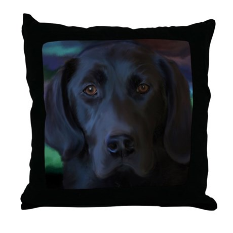 Black Lab Throw Pillow : Black Lab Throw Pillow by shellylanette