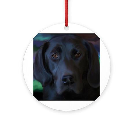 Black Lab Round Ornament