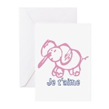 Je Taime Cartoon elephant Greeting Cards (Pk of 20