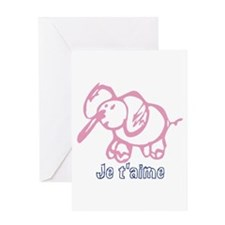 Je Taime Cartoon elephant Greeting Card