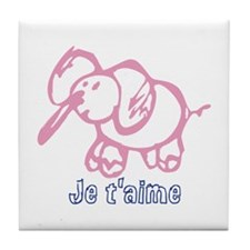 Je Taime Cartoon elephant Tile Coaster