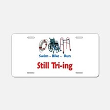 Still Tri-ing Aluminum License Plate