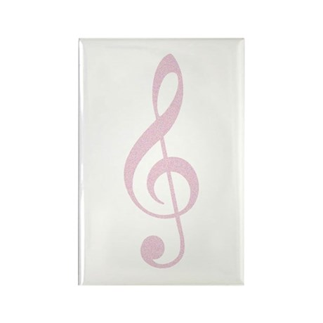 Arty Pink Treble Clef Rectangle Magnet (10 pack)