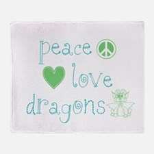Peace, Love and Dragons Throw Blanket