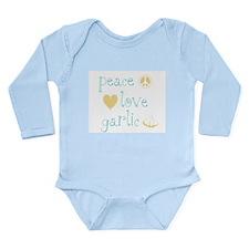 Peace, Love and Garlic Long Sleeve Infant Bodysuit