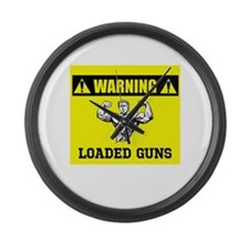 Warning: Loaded Guns Large Wall Clock