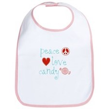 Peace, Love and Candy Baby Bib