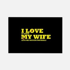 Funny my wife football Rectangle Magnet