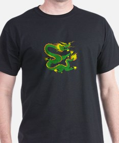 chinese green dragon Black T-Shirt