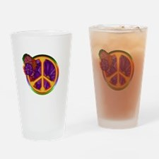 Flower Power Peace Sign Drinking Glass