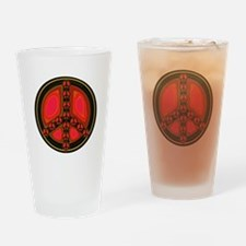Red Peace Sign Drinking Glass