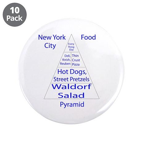"New York City Food Pyramid 3.5"" Button (10 pa"