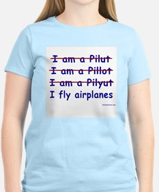 I Fly Airplanes Women's Pink T-Shirt
