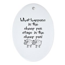 ... the sheep pen Oval Ornament