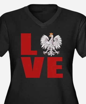 Polish Love Women's Plus Size V-Neck Dark T-Shirt