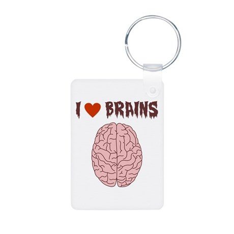 Zombie I Love Brains Aluminum Photo Keychain