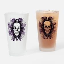 Skull Biker Purple Drinking Glass