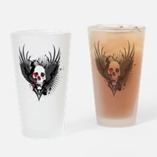 Skull & Wings Abstract Design Drinking Glass