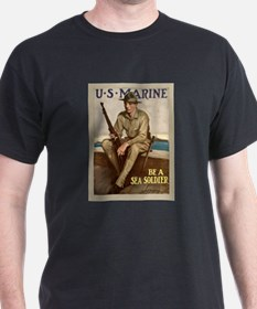 "WWI ""Be A Sea Soldier"" Poster T-Shirt"