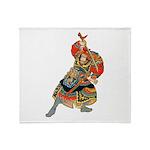 Japanese Samurai Warrior Throw Blanket