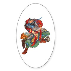 Japanese Samurai Warrior Sticker (Oval 10 pk)